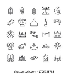islamic mosque and EID mubarak icon set over white background, line style, vector illustration