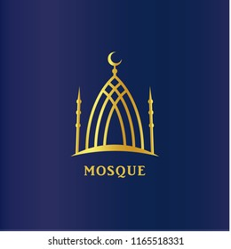 Islamic mosque linear silhouette. Cresent on dome, Islam symbol. Religion vector icon, logo template on dark blue background.