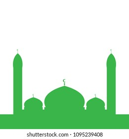 Islamic mosque silhouette. Green. Vector illustration.