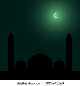 Islamic mosque silhouette on night sky with crescent background. Vector illustration.