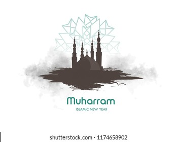Islamic new year Happy Muharram, Muslim community festival, poster, banner, card.