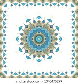 islamic oriental round mandala on black isolated background. Vector mandala in white, blue, gold and other colors. Mandala with floral patterns. Vectoral template
