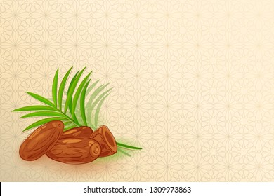Islamic ornament background with dates and palm tropical leaves. Perfect for the inscription - Ramadan Karim, Eid al-Adha, Juma Mubarak, Eidt Al Fitr. Effective elegant background for muslim and islam