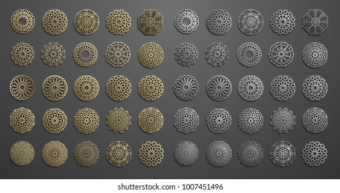 Islamic ornament vector , persian motiff . 3d ramadan islamic round pattern elements . Geometric logo template set. Circular ornamental arabic symbols .