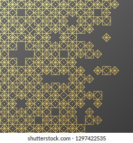 Islamic ornament vector , persian motiff . 3d ramadan islamic round pattern elements . Geometric circular ornamental arabic symbol vector . Gold background