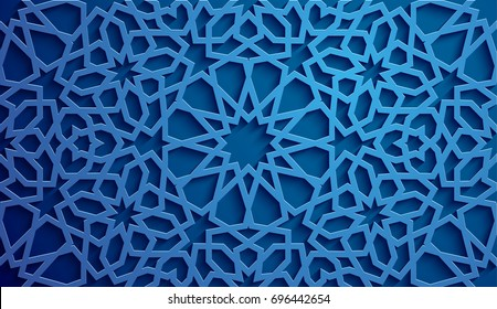 Islamic ornament vector , persian motiff . 3d ramadan islamic round pattern elements . Geometric circular ornamental arabic symbol vector . Blue background