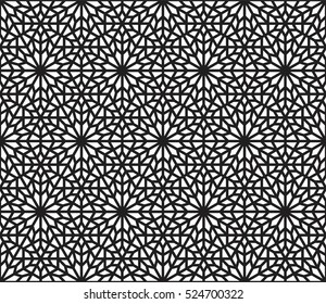 Islamic pattern, arabesque background, black and white geometric composition, stained glass design