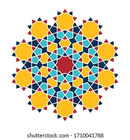 Islamic pattern. Colored vector geometric lattice mandala in arabic style