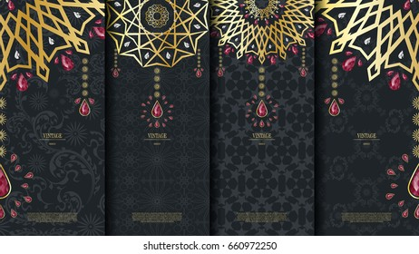 Islamic pattern element concept template with ruby vintage dark background and logo vector design, inclusive of pattern swatch