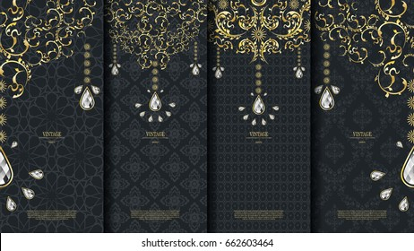 Islamic pattern element concept template with diamond vintage dark background and logo vector design, inclusive of pattern swatch