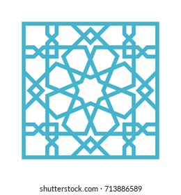 Islamic pattern. Tile with blue arabic geometric pattern, east ornament, indian ornament, persian motif