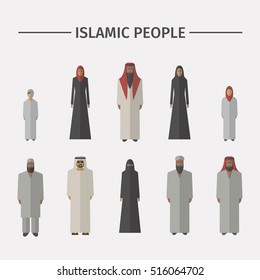 Islamic people. Flat icon. Vector illustration