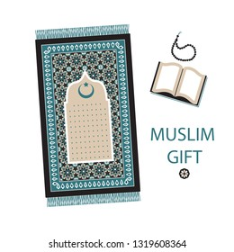 Islamic prayer set. Prayer mat, rosary, the Koran - a great gift for Muslims. Ramadan Kareem, eid al adha, eid al fitr, eid said, birthday.1