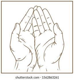 islamic praying hand outline vector illustration