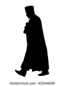 Islamic priest walks, Muslim imam vector illustration.silhouette