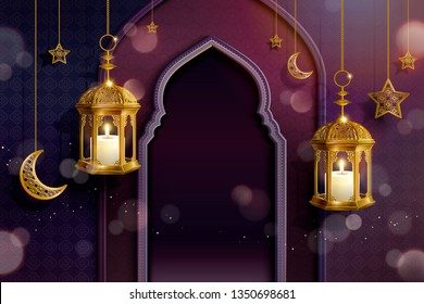 Islamic purple background with arch and hanging lanterns, glitter effect