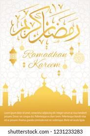 "Islamic Ramadan greeting Card with arabic calligraphy and Mosque vector illustration - Translation of text : ""Ramadhan Kareem (may Ramadan be generous to you)"""
