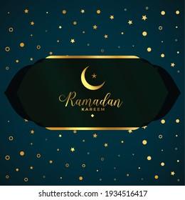 islamic ramadan kareem card in golden style