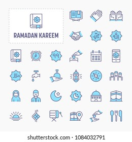 Islamic and Ramadan related Objects - thin line website, application & presentation icon. simple and minimal vector icon and illustration collection.