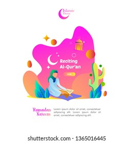 Islamic Ramadan Theme people read al-quran