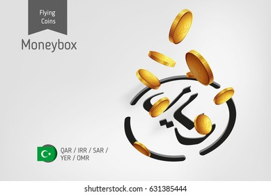 Islamic rial icon with flying islamic rial coins, finance concept.