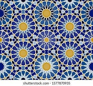 Islamic seamless pattern. Ramadan background. Zellige mosaic tile print. Middle Eastern Motif. Vector illustration.