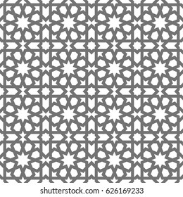 Islamic seamless vector pattern. Geometric ornaments based on traditional arabic art. Oriental muslim mosaic. Turkish, Arabian, Moroccan design on a white background. Mosque decoration element.