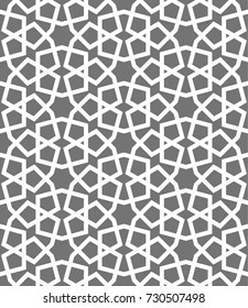 Islamic seamless vector pattern. White Geometric ornaments based on traditional arabic art. Oriental muslim mosaic. Turkish, Arabian, Moroccan design on a dark background. Mosque decoration element.