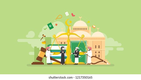 Islamic Sharia Financial Law Tiny People Character Concept Vector Illustration, Suitable For Wallpaper, Banner, Background, Card, Book Illustration, And Web Landing Page