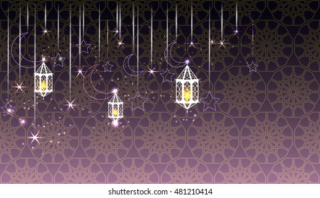 Islamic shiny banner on arabic pattern background with lanterns, stars, crescent moons.