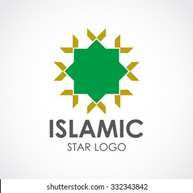 Islamic star of religion abstract vector and logo design or template moslem business icon of company identity symbol concept