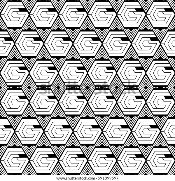 Islamic style seamless vector pattern with hexagons. Art Deco motifs. Vintage textile design collection. Black, white.