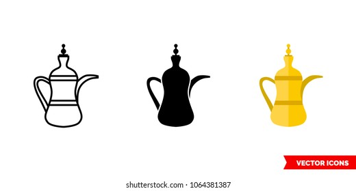 Islamic teapot icon of 3 types: color, black and white, outline. Isolated vector sign symbol.