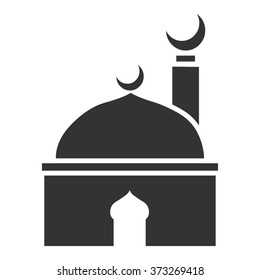 Islamic template, stencil, pattern, grey mosque, icon, isolated on white background. Vector.