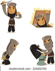 Islamic Terrorist Man, with Islamic terrorist vector illustration cartoon.