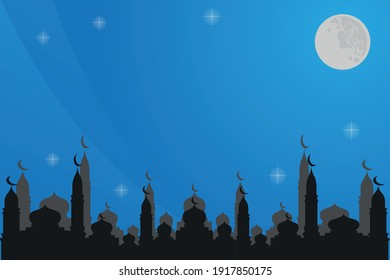 Islamic theme bacground with mosque, moon and stars.
