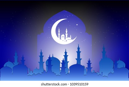Islamic vector design background with mosque on crescent moon