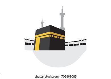 Islamic vector design Holy Kaaba in Mecca Saudi Arabia icon for Hajj and Ramadan or Eid. Vector illustration.