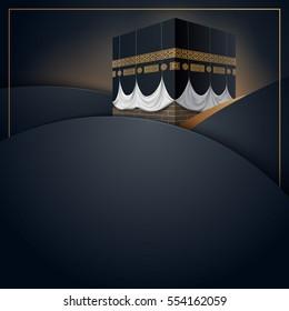 Islamic vector design kaaba icon for Hajj and Ramadan or Eid greeting card template