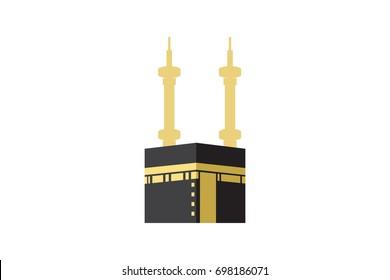 Islamic vector design kaaba in Mecca icon for Hajj and Ramadan or Eid. Vector illustration.
