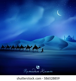 Islamic vector illustration background greeting with arabian and camel for Ramadan Kareem