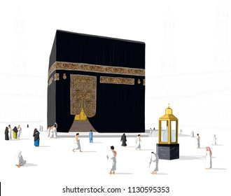 Islamic vector realistic illustration of kaaba for hajj in mecca