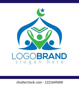 islamic youth organizations logo with book and mosque dome