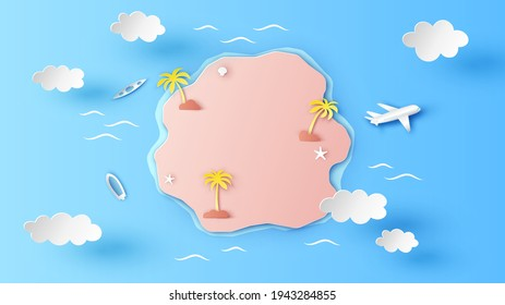 Island aerial view in the middle of Sea. Top view of tropical island in the ocean. paper cut and craft style. vector, illustration.