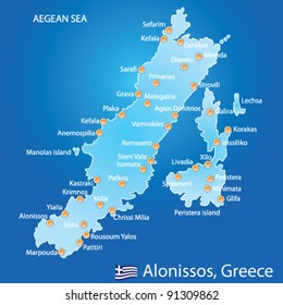 Island Alonissos Greece White Map Art Stock Vector (Royalty Free ...