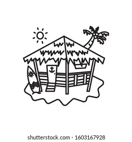 island Beach hut outline icon with surf boards and coconut trees behind the beach hut. Line vector eps 10. For logo template, summer products, travel agency, tour brochure.