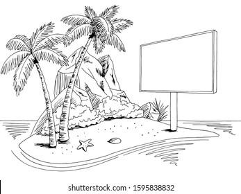 Island billboard graphic black white landscape sketch illustration vector