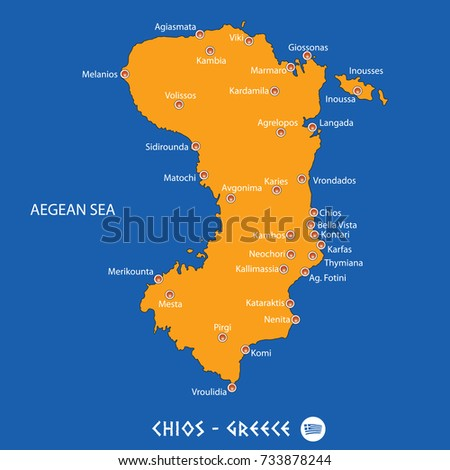 94389dad287 Island of chios in Greece orange map art and blue background - Vector