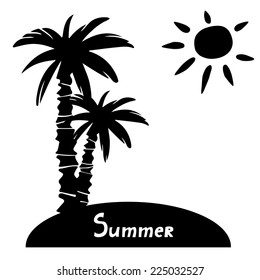 Island with coconut palm tree and sun black silhouette isolated on a white background hand drawn art illustration. Space for text