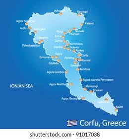 Island of Corfu in Greece on blue background